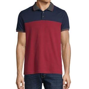 Men's slim fit color block polo